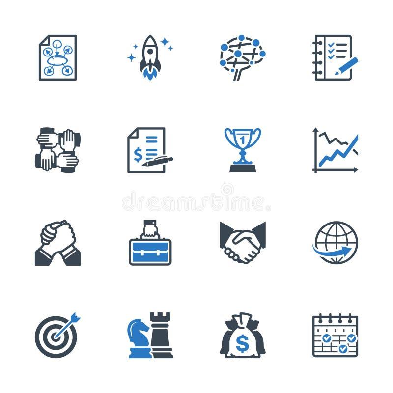 Uppsättning 4 för symboler för affärsledning - blå serie vektor illustrationer