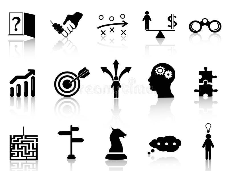 Uppsättning för symboler för affärsstrategi vektor illustrationer