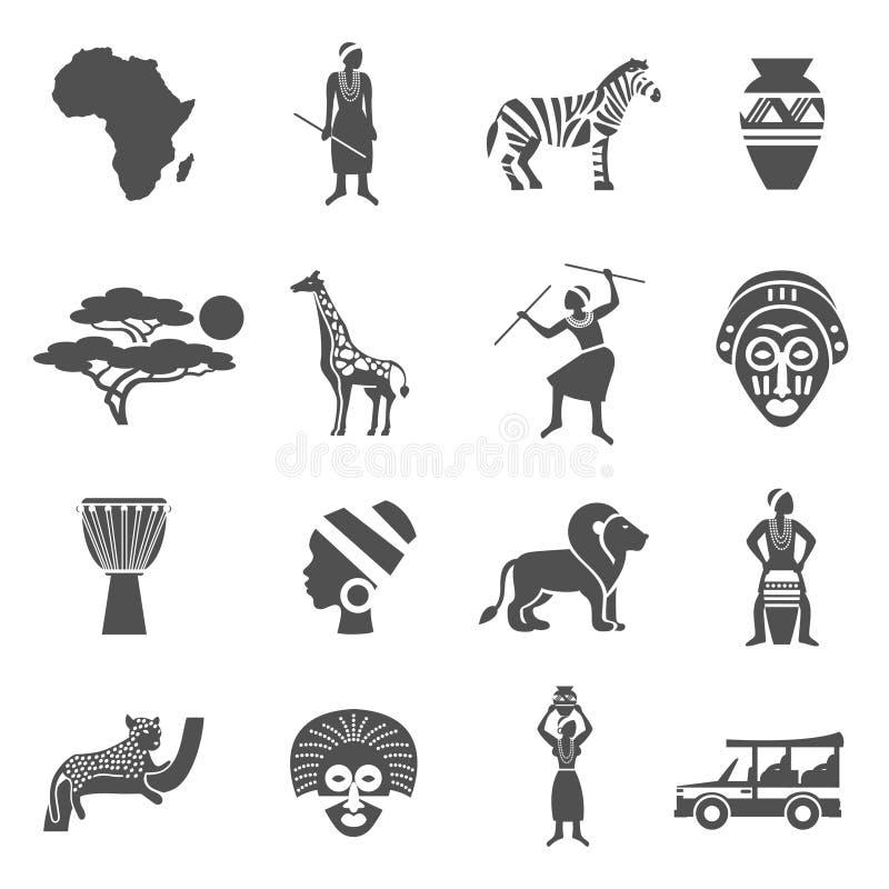 Uppsättning för symboler för Afrika svart vit vektor illustrationer