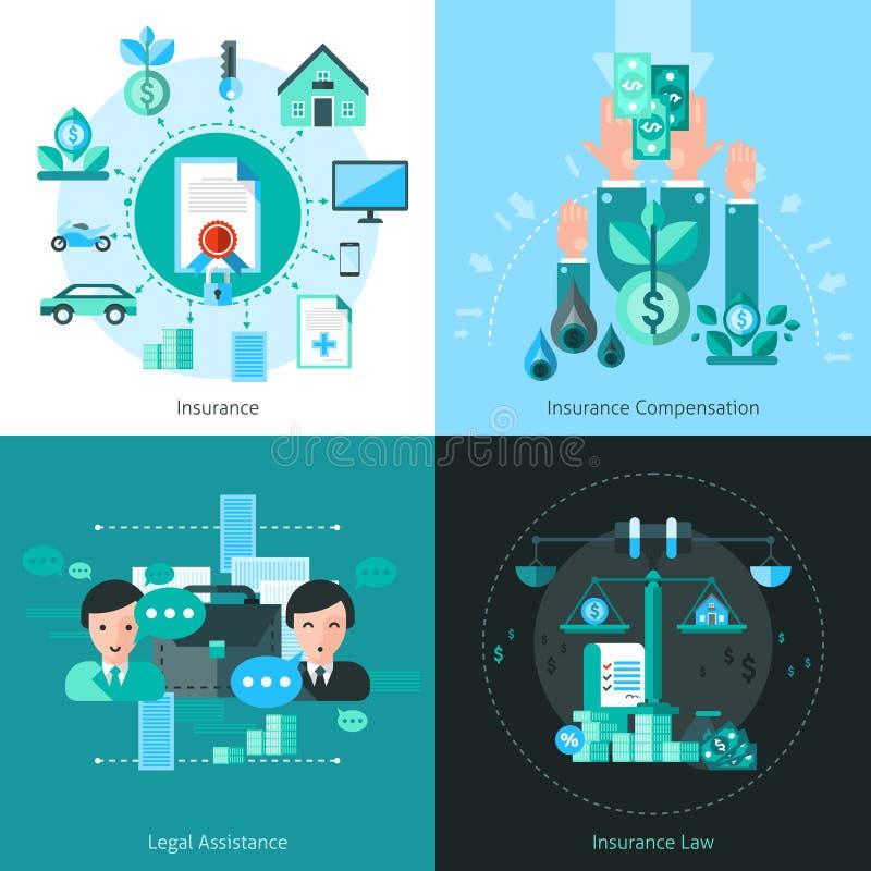 Uppsättning för symboler för begrepp för affärsförsäkring stock illustrationer