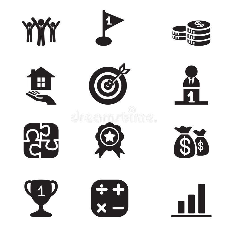 Uppsättning för symboler för begrepp för konturaffärsmål stock illustrationer