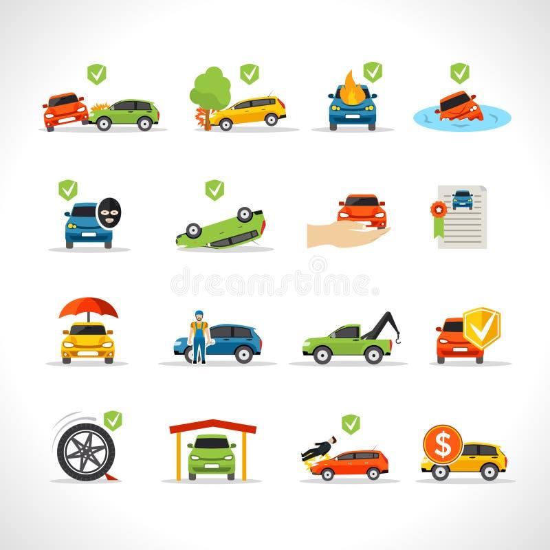 Uppsättning för symboler för bilförsäkring vektor illustrationer
