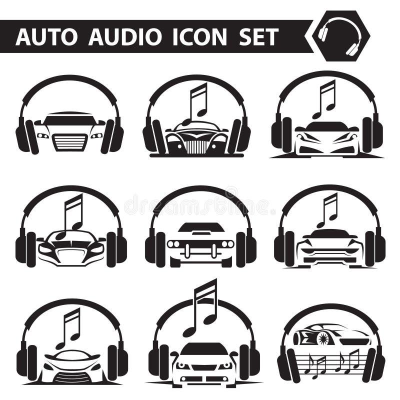 Uppsättning för symboler för bilradio royaltyfri illustrationer