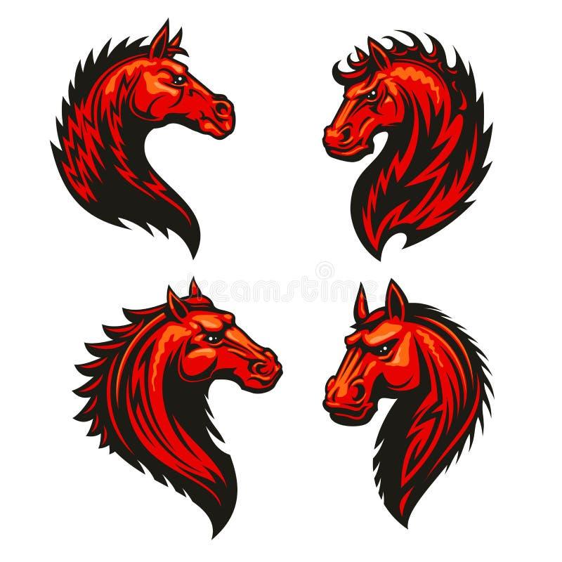 Uppsättning för symboler för brandhästhuvud heraldisk royaltyfri illustrationer