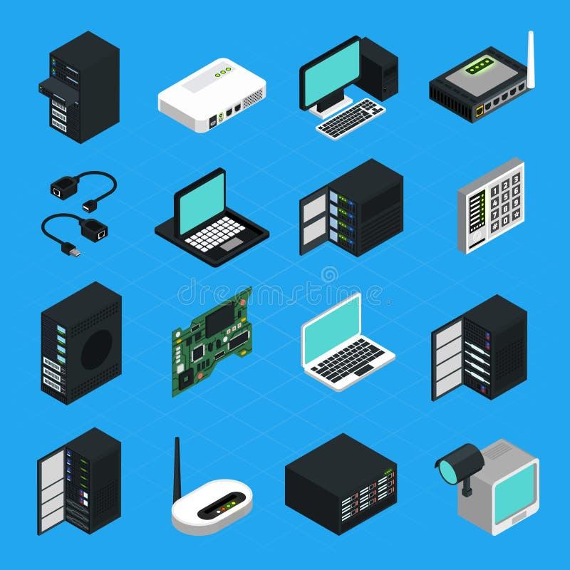Uppsättning för symboler för datorhallserverutrustning vektor illustrationer
