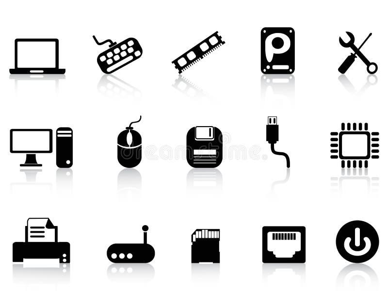 Uppsättning för symboler för datormaskinvara royaltyfri illustrationer