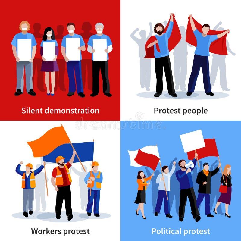 Uppsättning för symboler för demonstrationsprotestfolk 2x2 stock illustrationer