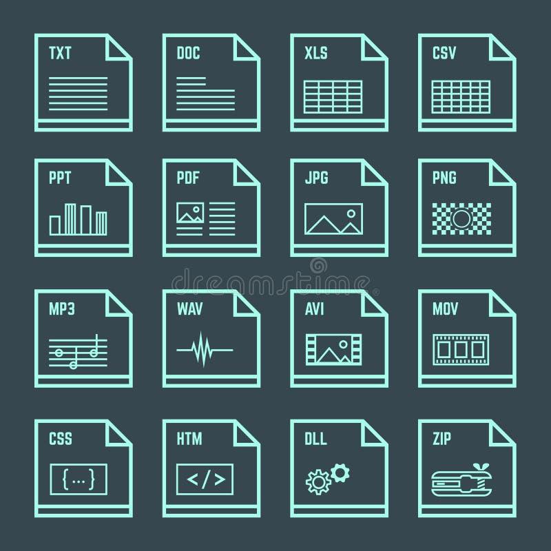 Uppsättning för symboler för design för översikt för mappformat minsta royaltyfri illustrationer