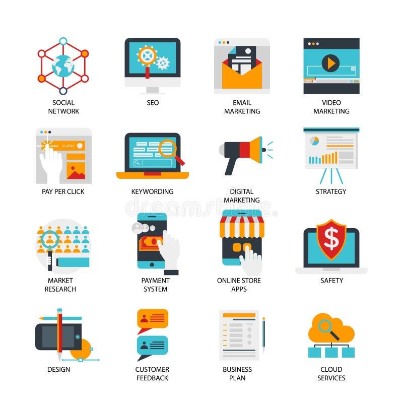 Uppsättning för symboler för Digital marknadsföringslägenhet