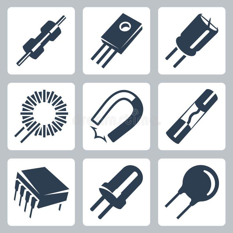 Uppsättning för symboler för elektroniska delar för vektor vektor illustrationer