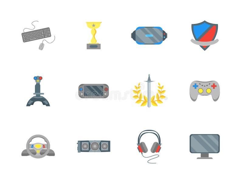 Uppsättning för symboler för färg för tecknad filmCybersport vektor vektor illustrationer