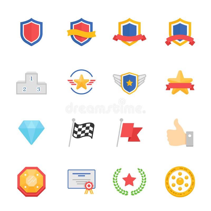 Uppsättning för symboler för färg för troféutmärkelsevektor royaltyfri illustrationer