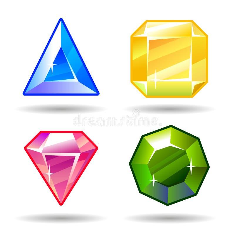 Uppsättning för symboler för för tecknad filmvektorädelstenar och diamanter vektor illustrationer