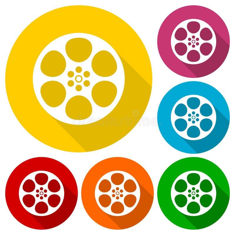 Uppsättning för symboler för filmrulle med lång skugga vektor illustrationer