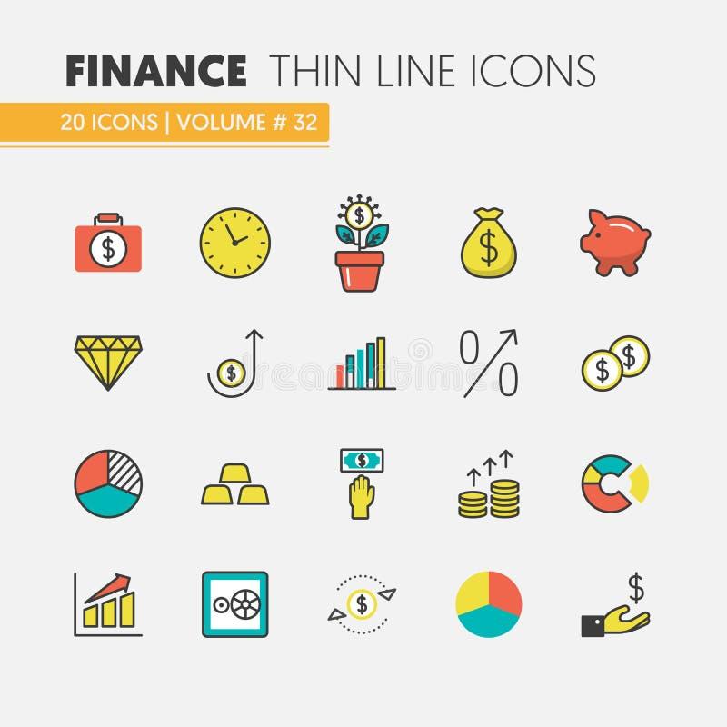 Uppsättning för symboler för finansinvestering linjär tunn med pengarträdet och finansiella beståndsdelar vektor illustrationer