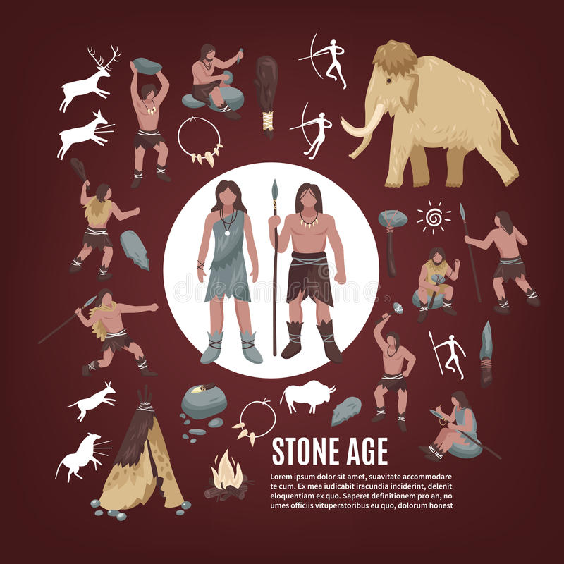 Uppsättning för symboler för folk för stenålder royaltyfri illustrationer