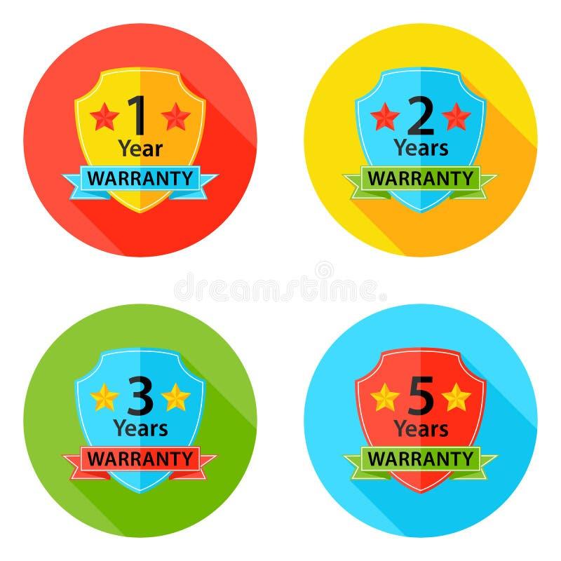 Uppsättning 2 för symboler för garantilägenhetcirkel med skugga