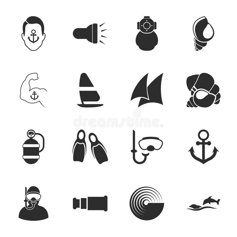 Uppsättning för symboler för hav 16 universell för rengöringsduk och mobil royaltyfri illustrationer