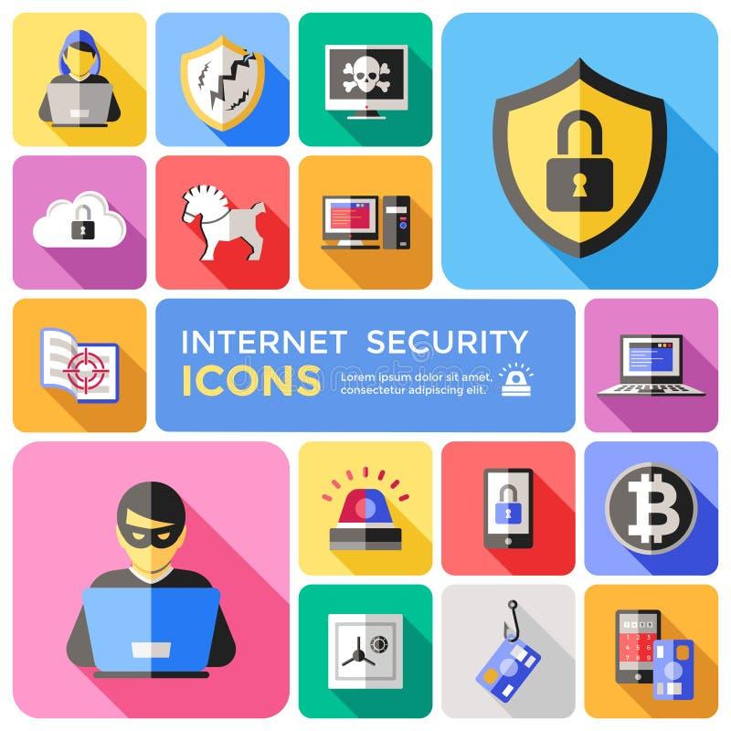 Uppsättning för symboler för internetsäkerhet dekorativ plan vektor illustrationer