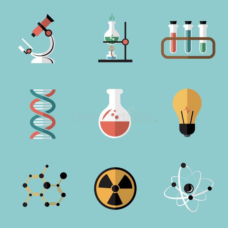 Uppsättning för symboler för kemivetenskapslägenhet stock illustrationer