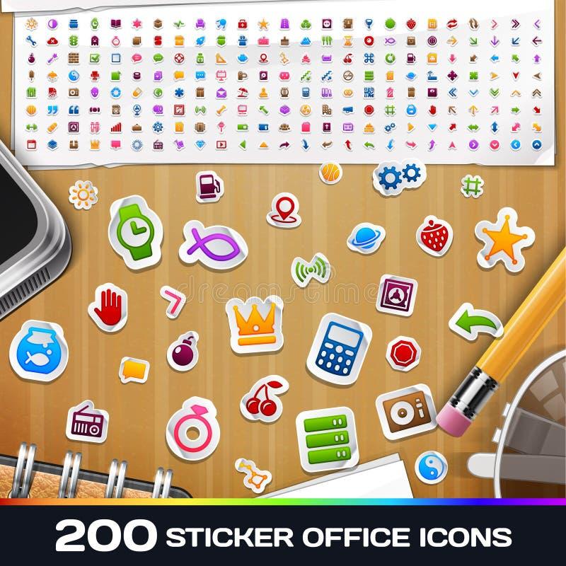 Uppsättning 2 för 200 symboler för klistermärke universell stock illustrationer