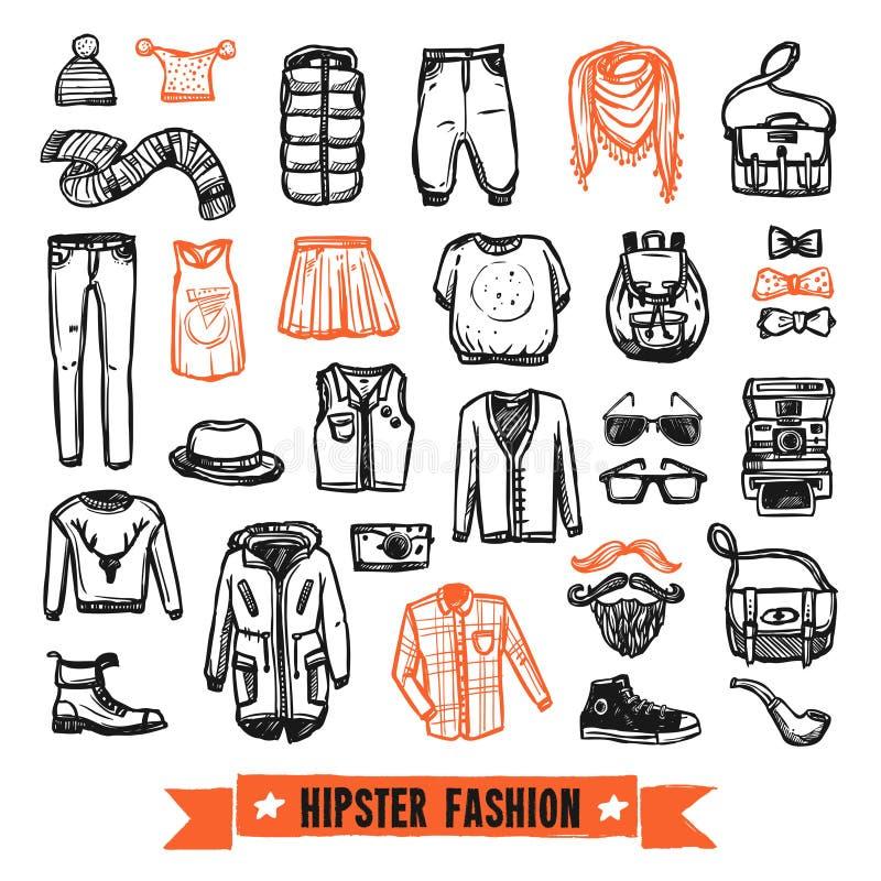Uppsättning för symboler för klotter för modekläderhipster stock illustrationer