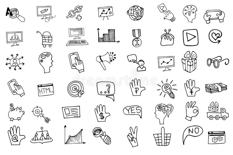 Uppsättning för symboler för klotteraffärsseo Knapphändig översikt royaltyfri illustrationer