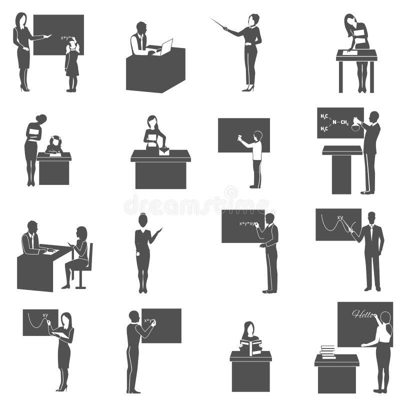 Uppsättning för symboler för lärareAt Blackboard In grupp vektor illustrationer