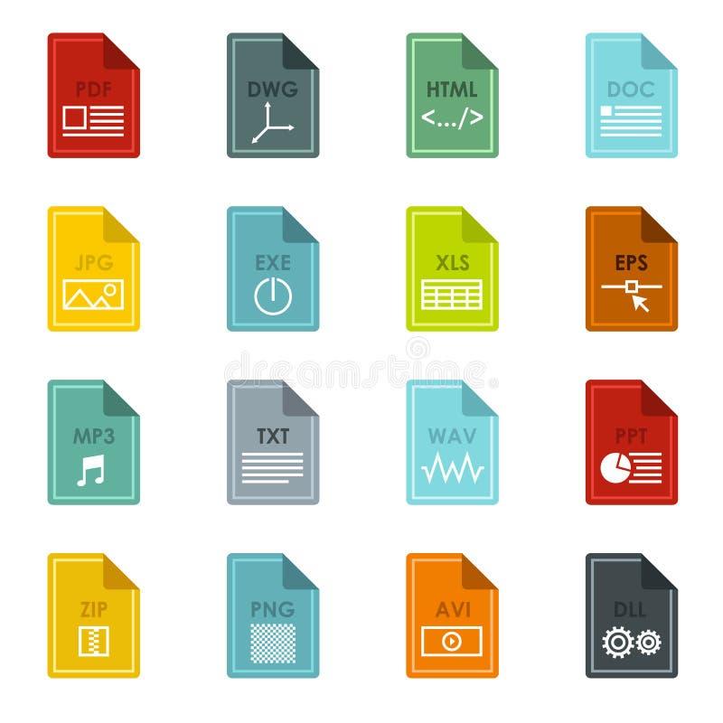 Uppsättning för symboler för mappformat, lägenhetstil royaltyfri illustrationer