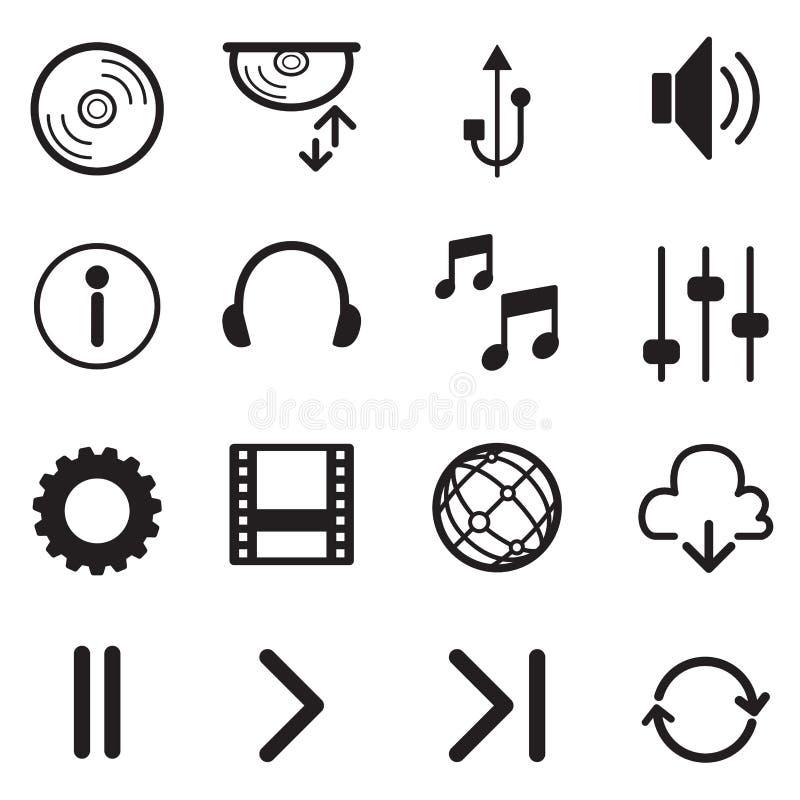 Uppsättning för symboler för massmediaspelare multimedior isolerat Vektor Illustratio vektor illustrationer
