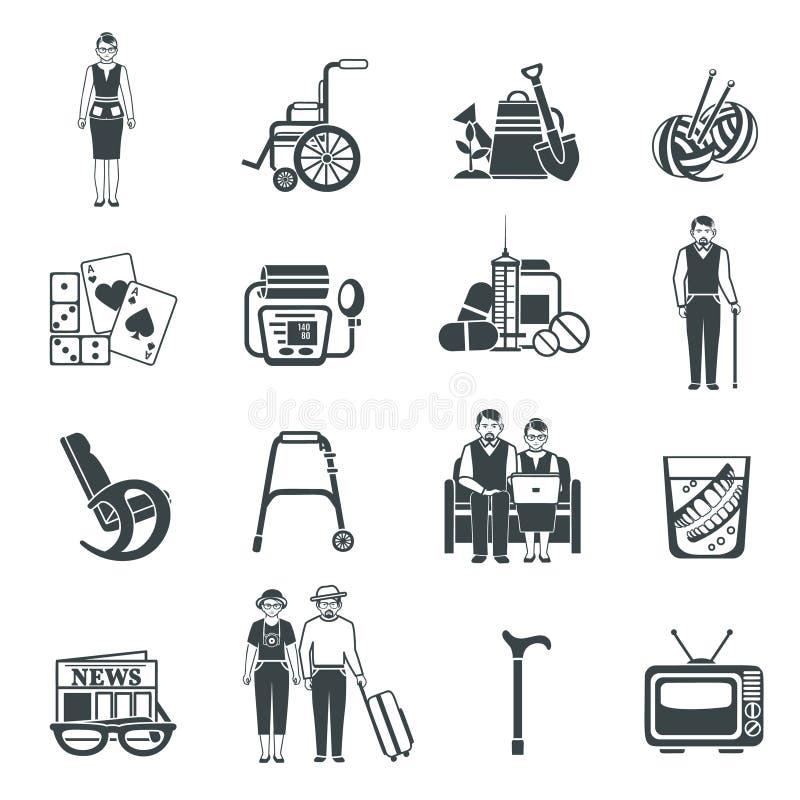 Uppsättning för symboler för pensionärlivsvart vit vektor illustrationer