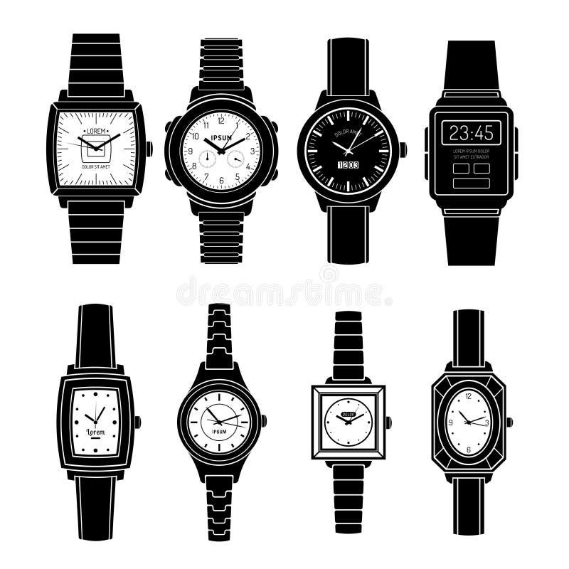 Uppsättning för symboler för populära klockastilar svart vektor illustrationer