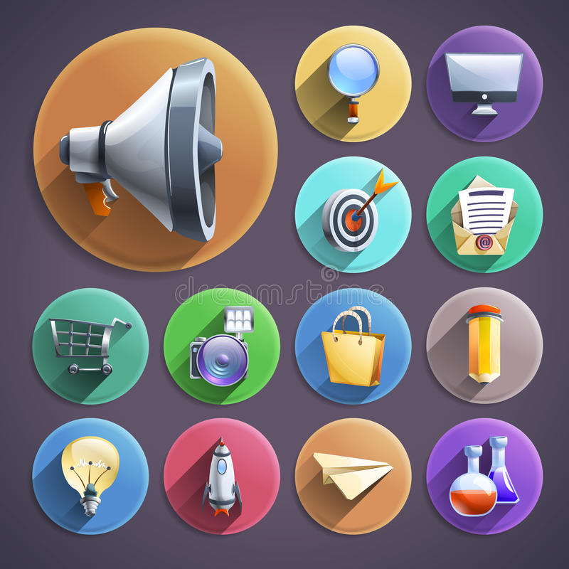 Uppsättning för symboler för runda för Digital marknadsföringslägenhet stock illustrationer