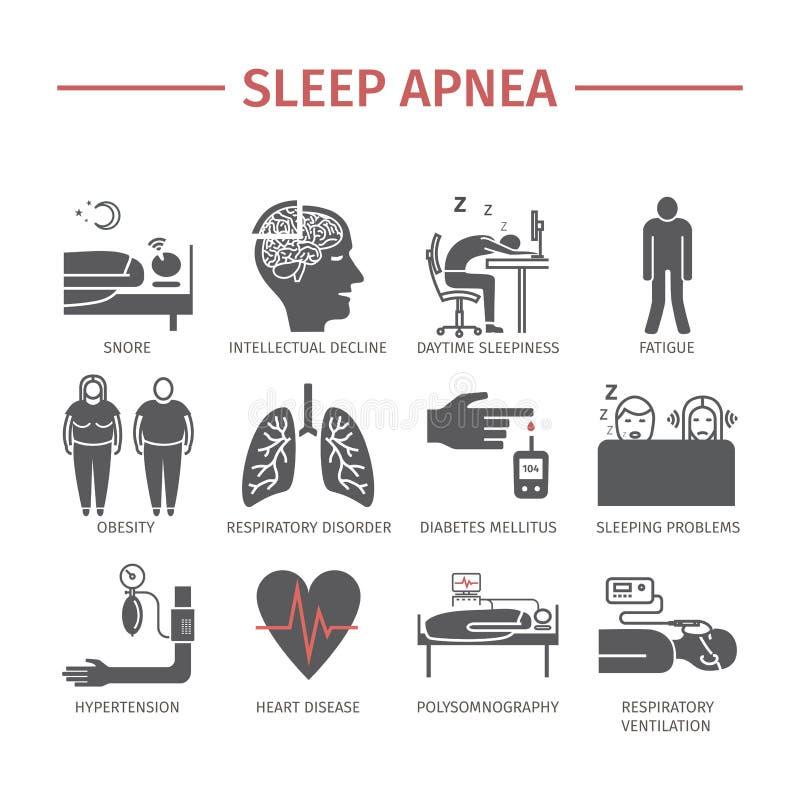 Uppsättning för symboler för sömnApnea Vektortecken royaltyfri illustrationer