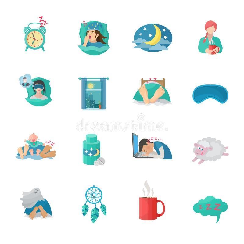 Uppsättning för symboler för sömnTid lägenhet stock illustrationer