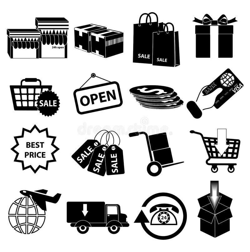 Uppsättning för symboler för shoppingförsäljningsleverans stock illustrationer