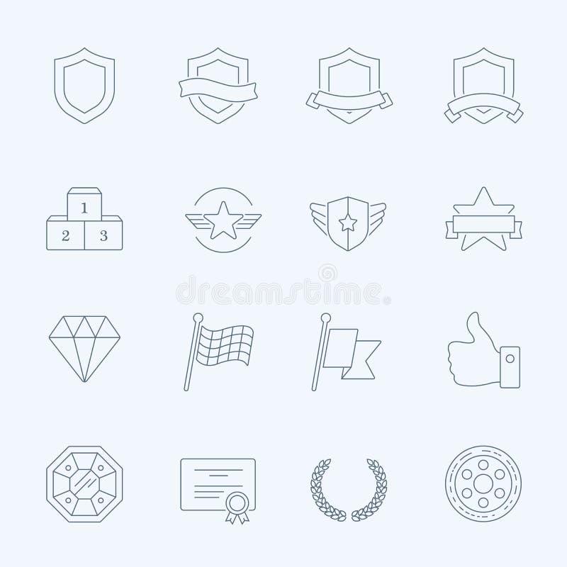 Uppsättning för symboler för slaglängd för översikt för troféutmärkelsevektor royaltyfri illustrationer