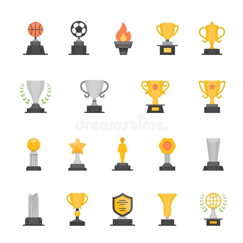 Uppsättning för symboler för slaglängd för troféutmärkelsefärg stock illustrationer