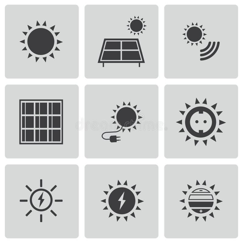 Uppsättning för symboler för sol- energi för vektor svart stock illustrationer