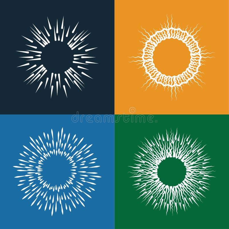 Uppsättning för symboler för solbristningsvektor av tappninghanden som dras som sunbursts royaltyfri illustrationer