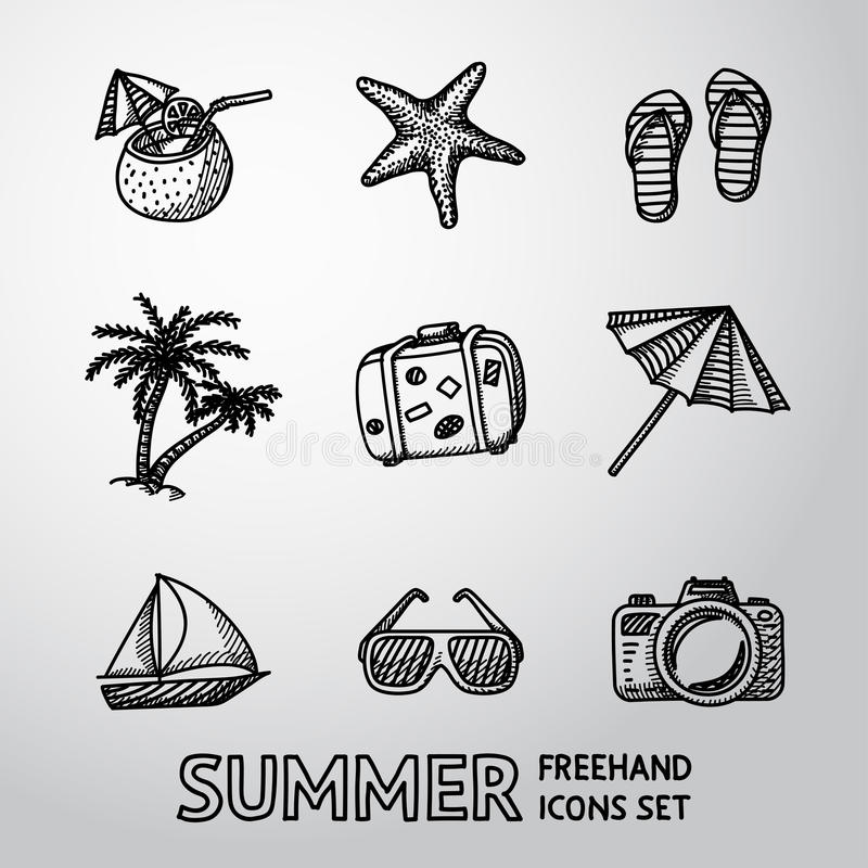 Uppsättning för symboler för sommarferier monokrom frihands stock illustrationer