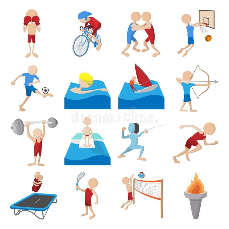 Uppsättning för symboler för sommarsporttecknad film royaltyfri illustrationer