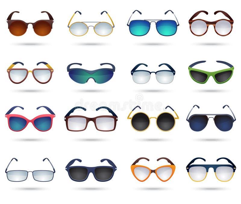 Uppsättning för symboler för spegel för solglasögonmodereflexion royaltyfri illustrationer