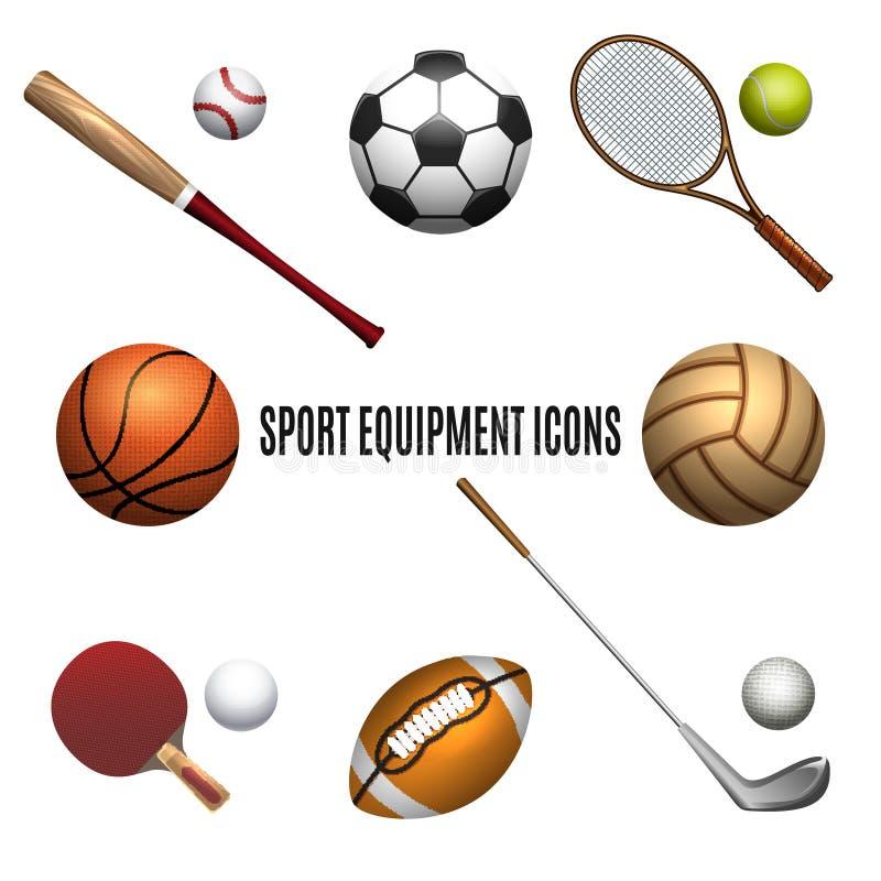 Uppsättning för symboler för sportutrustning royaltyfri illustrationer