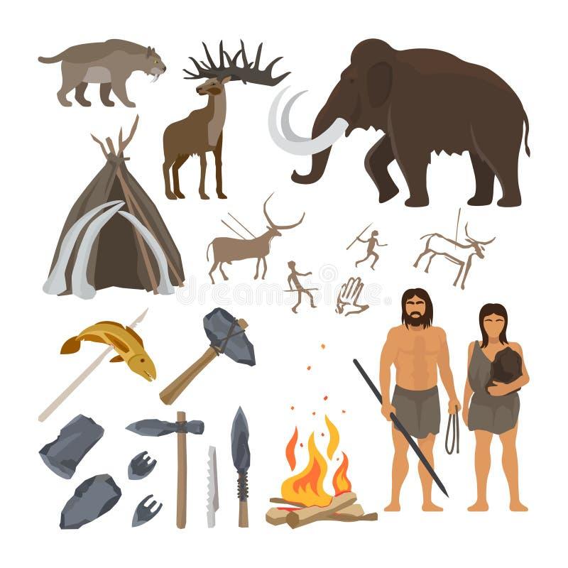Uppsättning för symboler för stenålder royaltyfri illustrationer