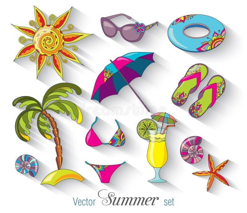 Uppsättning för symboler för strand för sjösida för sommarferier stock illustrationer