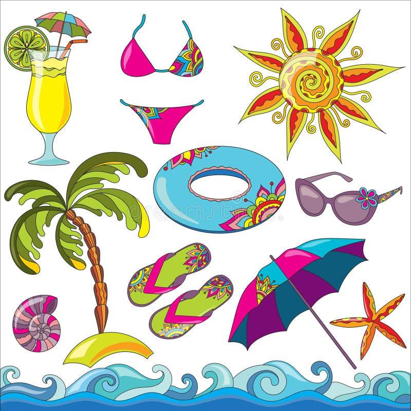 Uppsättning för symboler för strand för sjösida för sommarferier vektor illustrationer