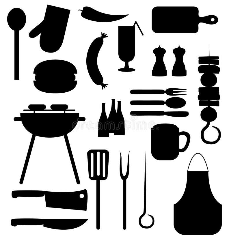 Uppsättning för symboler för svart för Bbq-gallerparti vektor illustrationer