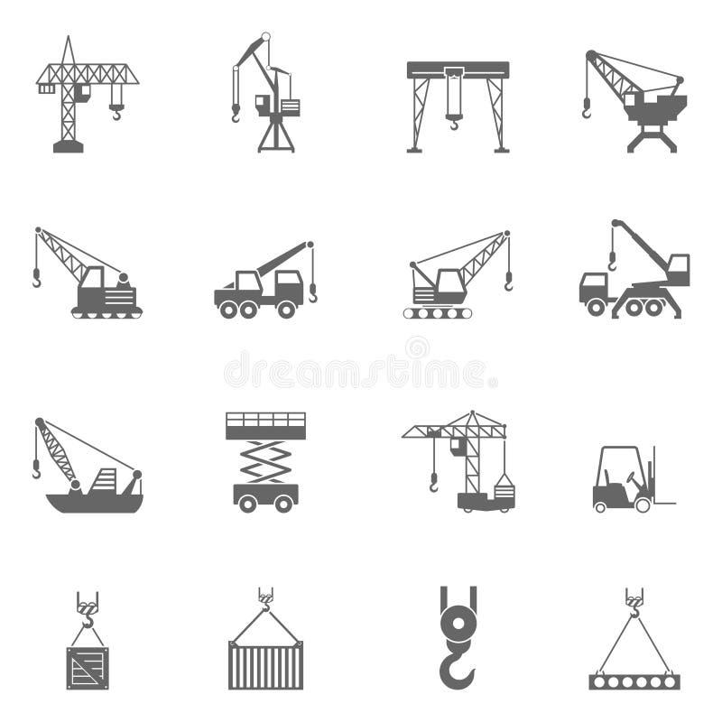 Uppsättning för symboler för svart för byggnadskonstruktionskran stock illustrationer