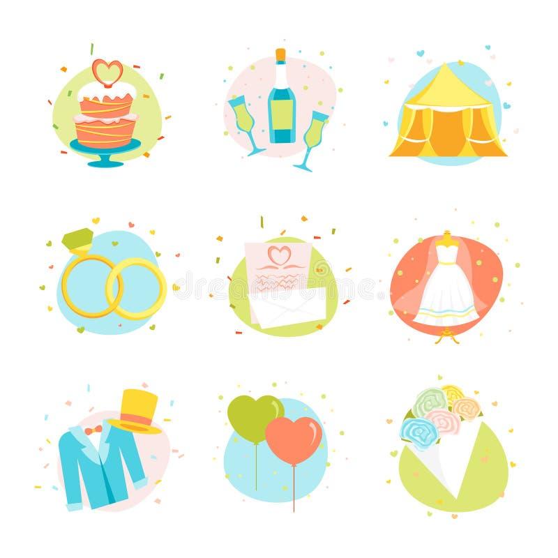 Uppsättning för symboler för tecknad filmbröllopfärg vektor stock illustrationer